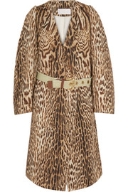 Leopard-print cotton-blend jacquard coat
