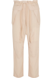 Silk-blend cloqué tapered pants