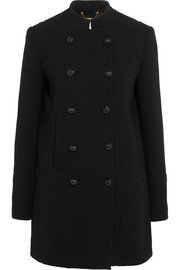 Double-breasted wool-crepe coat