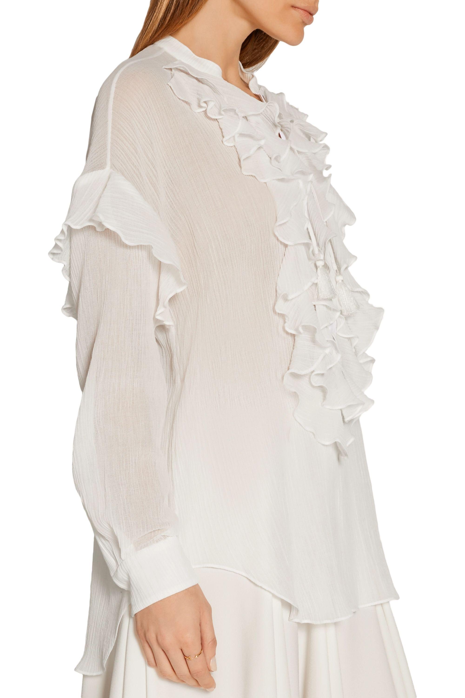 Chloé Ruffled lace-up cotton-gauze blouse