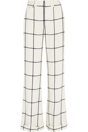 Checked crepe wide-leg pants