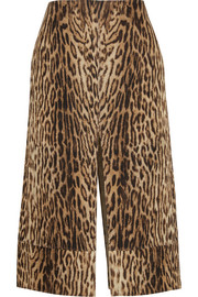Chloé Leopard-print cotton-blend matelassé skirt