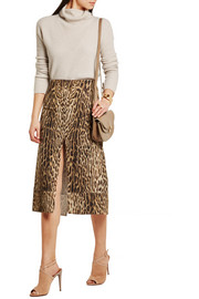 Leopard-print cotton-blend matelassé skirt