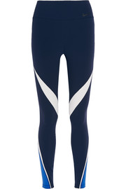 Legendary mesh-paneled stretch-jersey leggings
