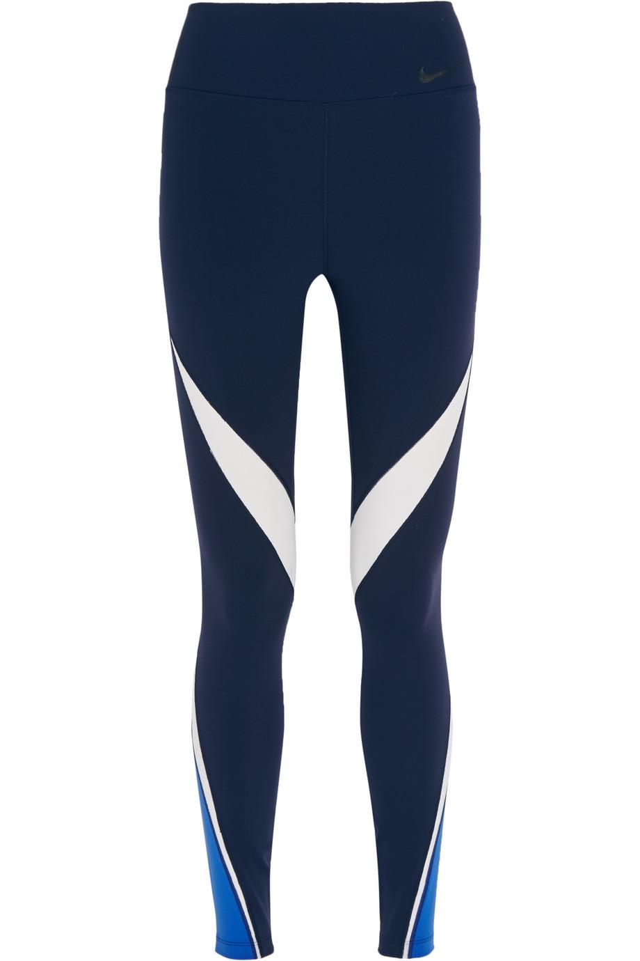 Nike Legendary Mesh-Paneled Stretch-Jersey Leggings, Midnight Blue, Women's, Size: XS