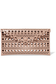 Alaïa Vienne small envelope laser-cut leather clutch