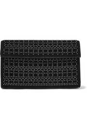 Alaïa Mini embellished laser-cut suede clutch