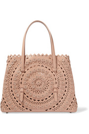 Alaïa Floral-appliquéd studded laser-cut leather tote