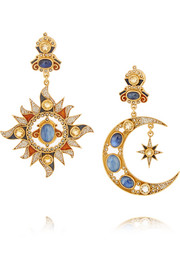 Gold-plated multi-stone earrings