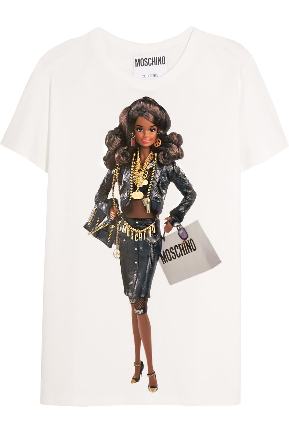 "Moschino Barbieâ""¢-Print Cotton-Jersey T-Shirt, White, Women's, Size: XS"