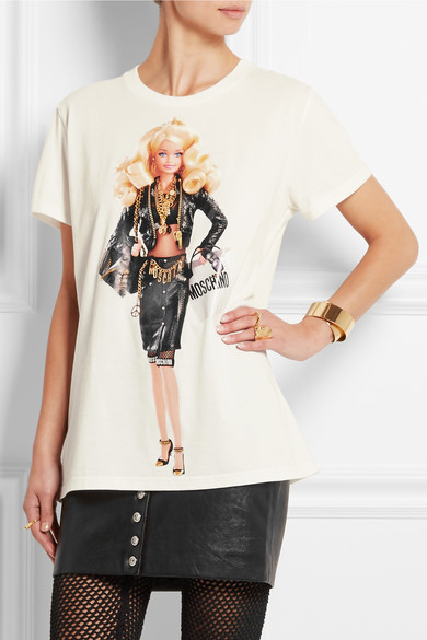 Moschino barbie print cotton jersey t shirt net a for Black barbie t shirts