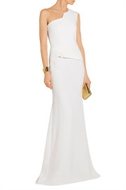 Godfrey one-shoulder wool-crepe gown