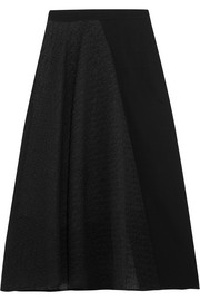Offley cloqué and stretch-crepe skirt