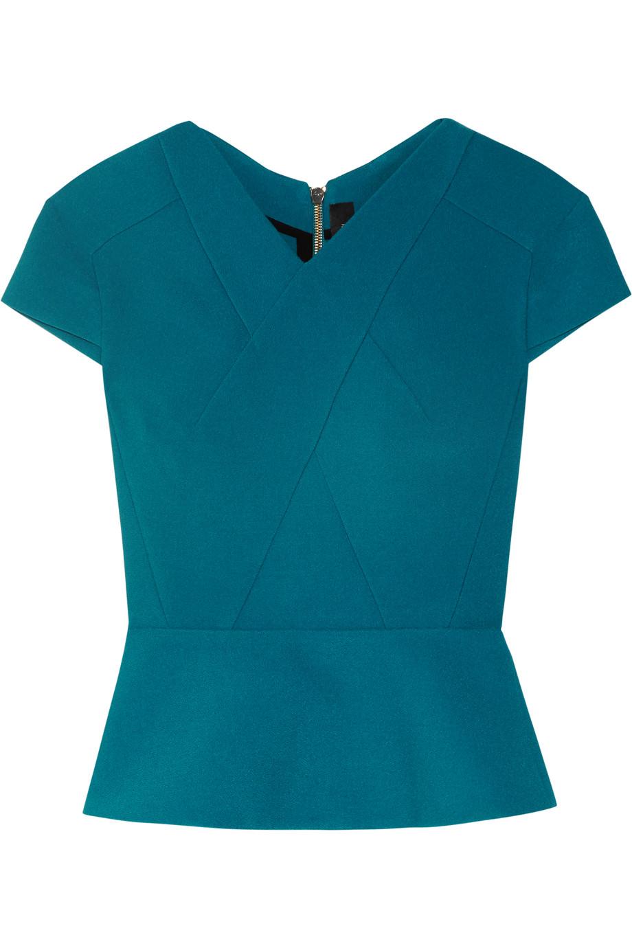 Roland Mouret Begbie Paneled Wool-Crepe Top, Petrol, Women's, Size: 10