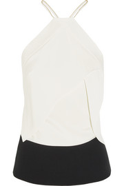 Roland Mouret Kay two-tone silk-blend top