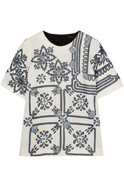 Shammy embellished embroidered linen-blend top