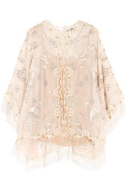 Seoul lace-trimmed embellished silk-organza top