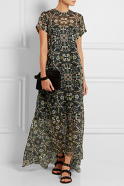 Alison linen-paneled printed silk-organza maxi dress