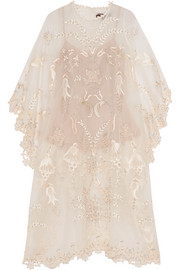 Aurelin embellished silk-organza tunic