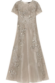 Gita embellished metallic tulle maxi dress