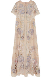 Gracia embellished metallic lace and organza maxi dress