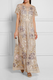 Biyan Gracia embellished metallic lace and organza maxi dress