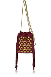 Gary small fringed studded suede shoulder bag