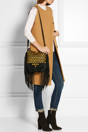 Mario studded fringed suede shoulder bag