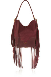 Mario fringed suede and textured-leather shoulder bag