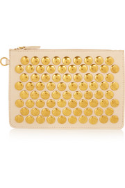 Popoche medium studded leather pouch