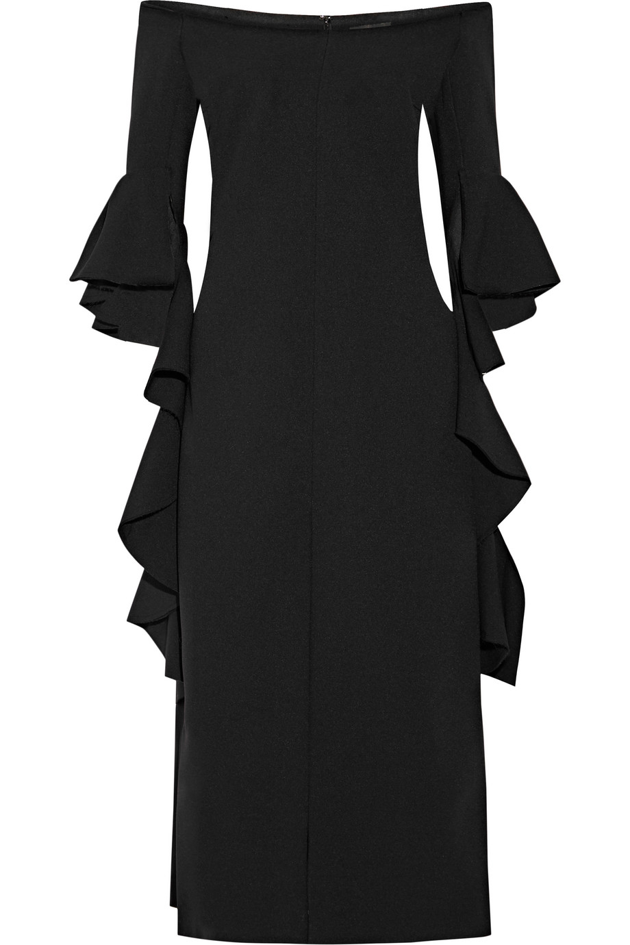 Precocious Off-the-Shoulder Ruffled Crepe Midi Dress, Black, Women's, Size: 4
