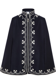 Ruby embroidered wool cape