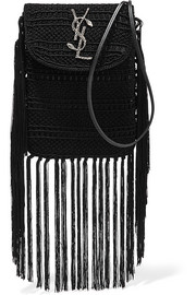 Saint Laurent Anita tasseled leather-trimmed crocheted shoulder bag