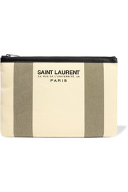 Saint Laurent Beach leather-trimmed cotton-canvas pouch