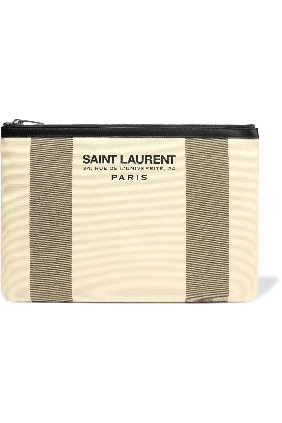 Saint Laurent Beach Leather-Trimmed Cotton-Canvas Pouch, Ecru, Women's