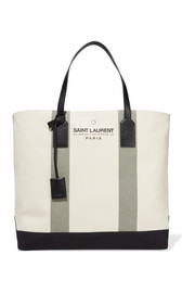 Beach leather-trimmed canvas tote