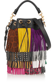 Emmanuelle small fringed textured-leather shoulder bag