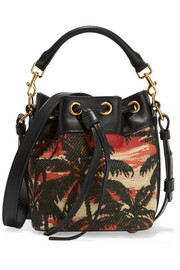 Saint Laurent Emmanuelle small leather-trimmed jacquard shoulder bag
