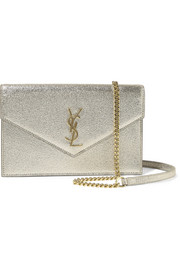 Monogramme Envelope small metallic textured-leather shoulder bag