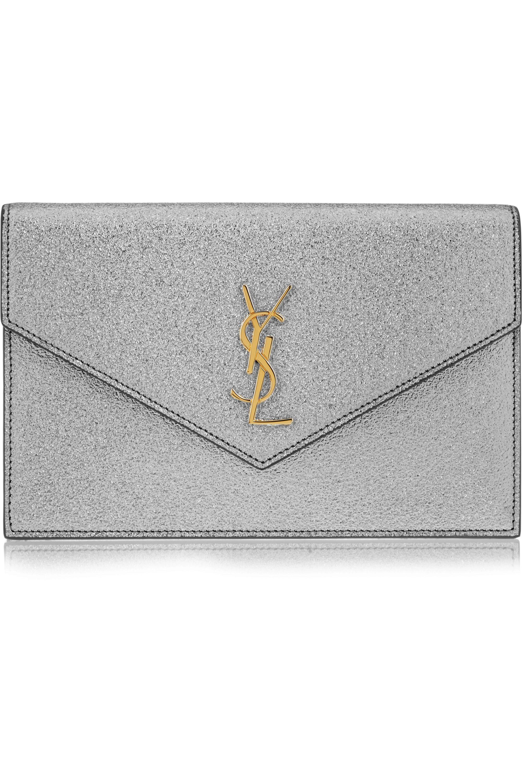 SAINT LAURENT Monogramme Envelope small metallic textured-leather shoulder bag