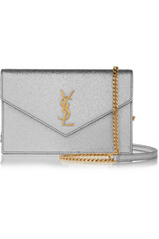 Saint Laurent Monogramme Envelope small metallic textured-leather shoulder bag