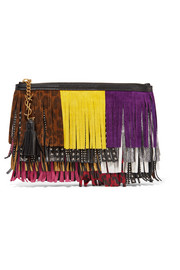 Saint Laurent Monogramme fringed suede and leather clutch