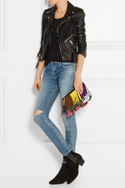 Monogramme fringed suede and leather clutch