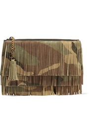 Monogramme fringed camouflage-print suede clutch