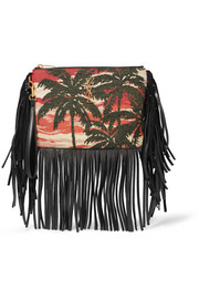 Monogramme fringed leather and jacquard clutch