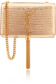 Monogramme small metallic lizard-effect leather shoulder bag