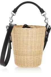 Panier small leather-trimmed bamboo shoulder bag