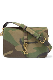 Saint Laurent Sac Université medium  camouflage-print suede shoulder bag