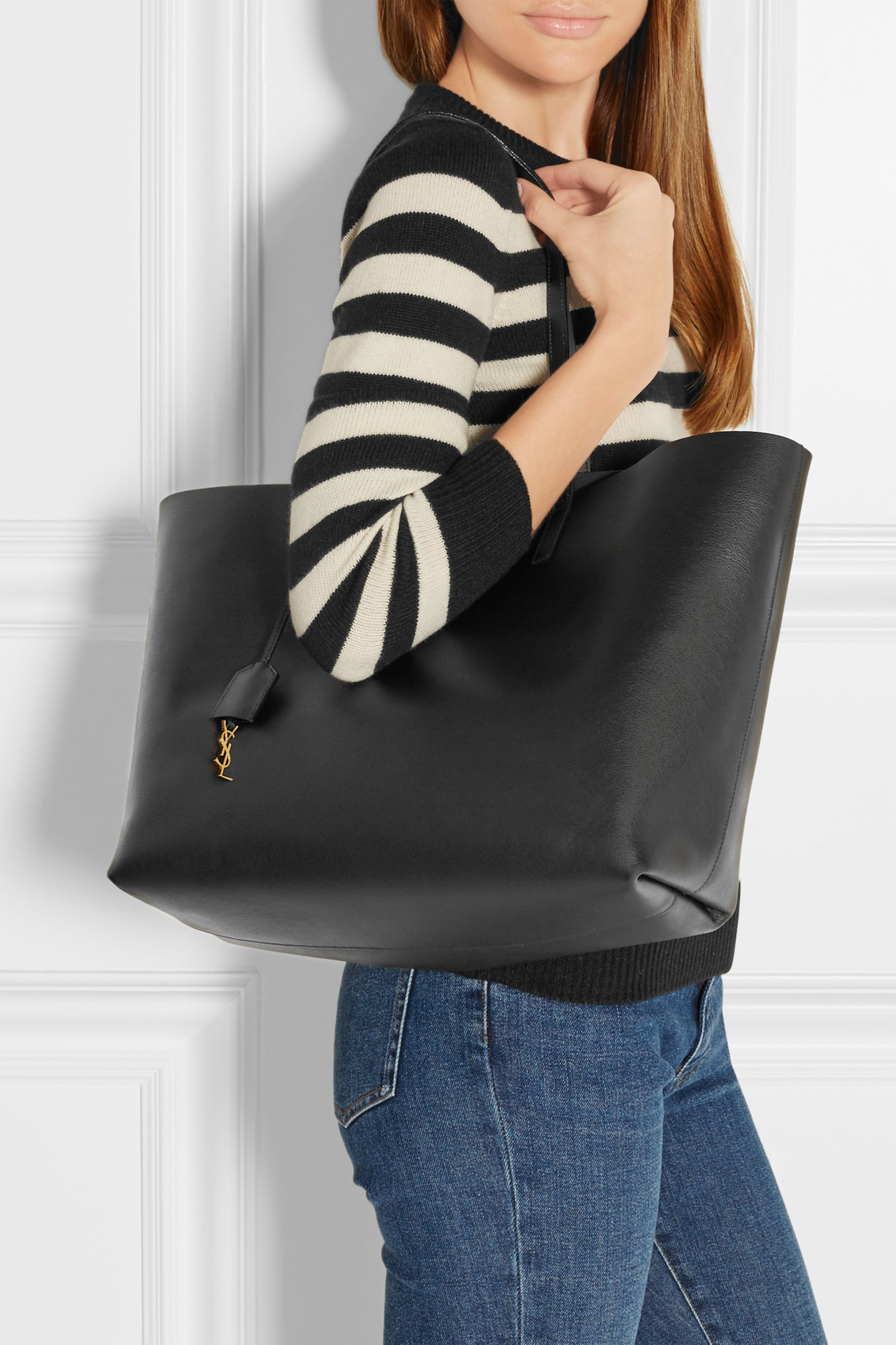 SAINT LAURENT Shopping large textured-leather tote