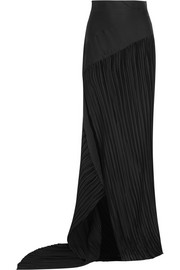 Plissé-satin maxi skirt